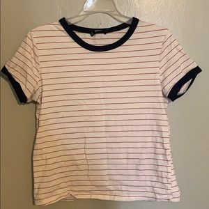 Red striped t shirt with Navy piping